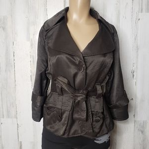 LuiI Adorable faux silk lined belted jacket size S